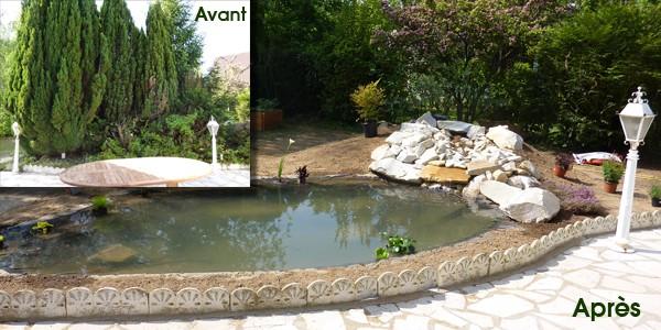 Création d'un bassin et d'une cascade dans les Yvelines